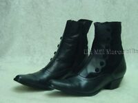 Oak Tree Farms Victorian Button cowgirl zipper style boots leather velvet uppers
