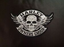 "HARLEY OWNERS GROUP ""HOG"" LARGE  SKULL PATCH ""SHIPS INTERNATIONAL"""