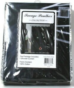 1 Count Savage Panther Collection Black 100% Cotton Shower Curtain
