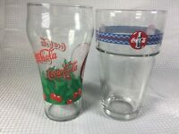 Set of 2 Coca Cola Coke Christmas Rare Glasses Vintage & Holly Leaves Holiday Fs