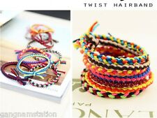 10pcs Elastic Twist Hair Ties Wrist Band Rope Ponytail Holder Accessory Women