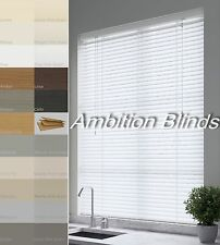 FAUX WOOD IMPRESSION VENETIAN BLINDS  MADE TO MEASURE  21 COLOURS - CHILD SAFE