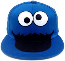 S/M SESAME STREET BIG FACE COOKIE MONSTER FITTED HAT CAP FLEX FIT STRETCH BLUE