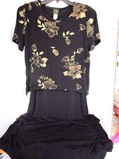 TEDDI DRESSES~Black & Gold 2 Piece DRESS~Women's Size 8~92% Nylon 8% Spandex