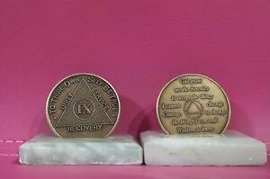 Recovery coins AA 9 Year Bronze Medallion tokens sobriety affirmation birthday