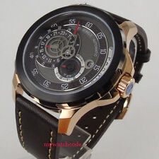 44mm Parnis black dial date PVD case Sapphire glass miyota Automatic Mens Watch