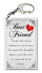 Miles Between Us Best Friend Birthday Present Gift Small Plastic Keyring Keychai