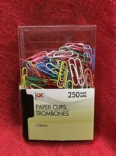 250 PAPER CLIPS ASSORTED COLORS - VINYL COATED - 28mm - Brand New