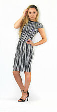 Crew Neck Cap Sleeve Striped Regular Size Dresses for Women