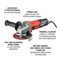 Bauer 4-1/2 in 7 Amp Small Angle Grinder W/ Tool-Free Guard Free
