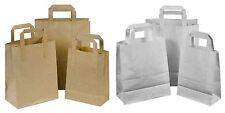 Brown & White Kraft Paper SOS Food Carrier Bags With Handles Party Takeaway ML