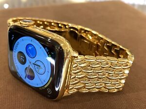 Custom 44mm Apple Watch Series 5 Stainless Steel 24K Gold Plated GPS+LTE