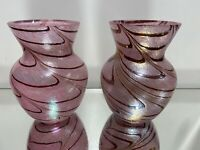 Pr. Art Glass Vase Iridescent Pulled Feather Multi colour