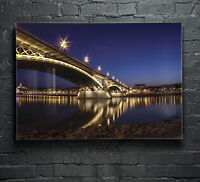 Canvas Prints Wall Art on Fade Proof Glass Photo ANY SIZE Night Bridge p62262
