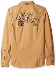 New Mens Buffalo David Bitton Sifscot Long Sleeve Walnut Fashion Woven Shirt XXL