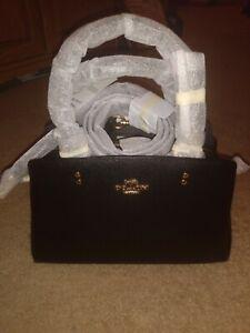 New Coach 91146 Mini Lillie Carryall Handbag Crossbody Leather Black