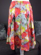 Per Una Uk 8 Womens A Line Flare Watercolour Floral Linen Skirt Vgc