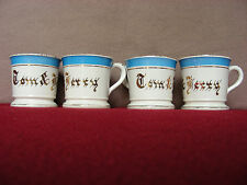 """( 4 ) Rare ~ Antique """" TOM & JERRY """" Semi-Porcelain Tea Cups by Dresden China!!"""