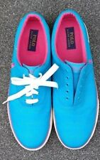 Polo Ralph Lauren Mens Sneakers Fabian Canvas Slip-On Boat Shoes teal hot pink