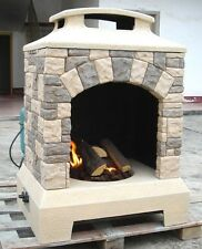 New 2017 Tuscan Stone Style Outdoor Backyard Fireplace Gas Fire Pit w/ Fire Logs