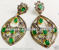 Emerald Studded Silver Earring Jewellery Artdeco Estate 4.90cts Rose cut Diamond