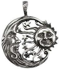 Celestial Windblown Moon Sun Stars Pendant Amulet Pewter Shelter Cord Necklace