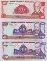 THREE 1985 P153a 50 CORDOBAS & P155a 500 CORDOBAS BANKNOTES FROM NICARAGUA MINT