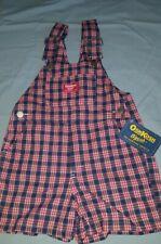 4t New Red Blue Plaid Oshkosh Shortalls USA made Vintage...