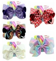 New 8 inch JOJO Siwa Leather Laser Cloth Bowknot Kids Hair Bow Girl's Best Gift