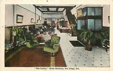 San Diego California~Hotel Botsford Lobby~Rocking Chairs~Check In Desk~1920s PC