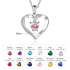 925 Sterling Silver Personalise Heart Necklace Pendant 1 Name1 Birthstone Gift