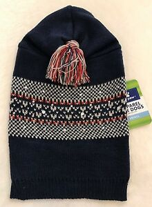 Navy Fair Isle Dog Sweater - S or L - Top Paw - Pom Hoodie - Studs - NWT