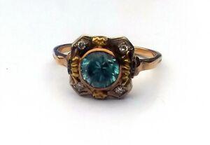 Antique Art Deco 1.25 CT Blue Topaz Diamond 14k Gold & Platinum Ring