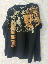 Trendy Franky Max Long Sleeve Black Shirt With Full Frontal Print Large