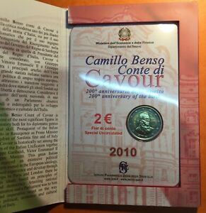 2 EURO 2010 ITALIE BICENTENAIRE de la NAISSANCE du COMTE de CAVOUR - BLISTER.