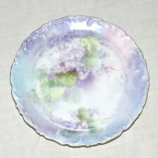 T&V Limoges 7 in Plate Violets Lavender Lilac Hand-painted? Raised edge Gold trm