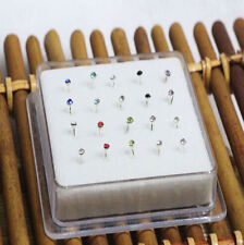 Wholesale 20PCS Solid Silver Mixed 2MM Ball Crystal Straight Bar Rod Nose Stud