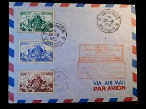 1955 VIETNAM FDC COVER Stamps Scott 27-29 BUU-HOA VIETNAM CANCEL