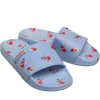 Womens Cath Kidston Slydes Sliders FlipFlop Shoes Blue Pool Garden Rose Slippers