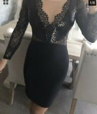 Ladies Lipsy Michelle Keegan Long Sleeved Black Lace Bodycon Dress Size 6