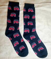 President USA AMERICAN FLAG Elephant PATRIOTIC STARS MENS Black CREW SOCKS
