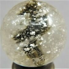Marbles: 11/16 n/Mint German Handmade Black Solid Core with Blizzard Mica