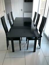 Large Extending Black Glass 6 seat Dining Room Table set six chairs modern