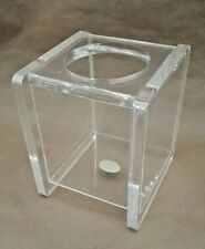 Vintage Upright Tissue Box Holder Clear Plexiglass Heavy Made in California c80s