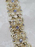 Vintage Bracelet Signed Coro Gold Tone Purple Rhinestones Openwork Leaves As is