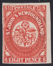 NFLD 8d Heralidic Flowers, Scott 8, F-VF unused, catalogue - $375