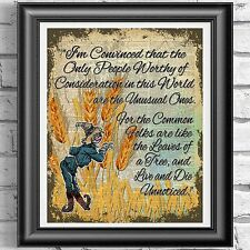 Wizard Of Oz Scarecrow Quote Vintage Dictionary Page Print Picture Wall Art