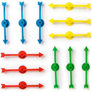 Plastic Board Game Arrow Spinners Pointer, 12-pack - Blue Yellow Green Red