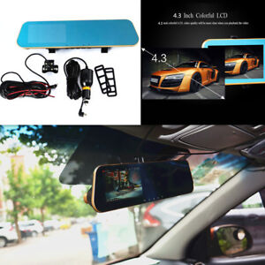 Dual Lens Car Reverse Backup Mirror Driving Recorder DVR Camera 1080P Recorder