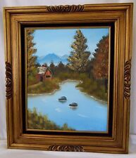 Helen Muessig Oil Painting Gold Gilt Frame Countryside Barn River Tree Landscape